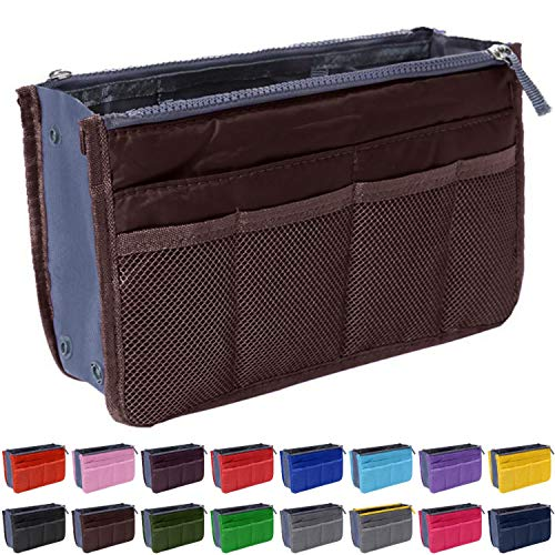 Handbag Organizer by Gaudy Guru - Insert Purse Organizer - Bag in Bag - 13 Pockets - Multiple Colors (Coffee)
