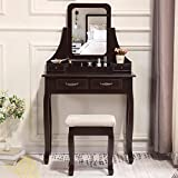 Unihome Vanity Table with Mirror Brown Dressing Table with 4 Drawers Small Makeup Table for Women