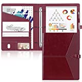 Toplive Padfolio 3 Ring Binder (1'' Round Ring) Business Portfolio Folder for Interview, Conference and Presentation, Wine Red