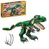 LEGO Creator Dinosauro, Modello 3 in 1, Figure del Triceratopo e Pterodattilo, Sistema di Costruzione Modulare, 31058