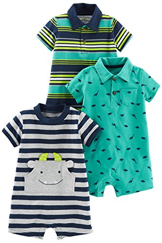 Simple Joys by Carter's - Pagliaccetto - Beb maschietto blu Blue Stripe/Turquoise Dino/Gray Navy 0-3 Months
