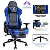 KILLABEE Big and Tall 350lb Massage Memory Foam Gaming Chair - Adjustable Massage Lumbar Cushion, Retractable Footrest and 2D Arms High Back Ergonomic Racing Computer Desk Leather Office Chair (Blue1)