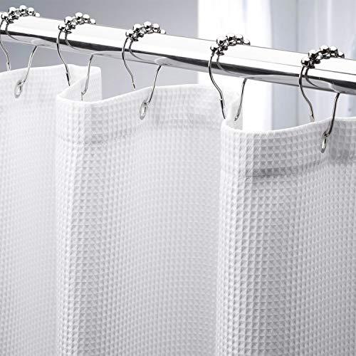 AmazerBath Waffle Shower Curtain, Heavy Duty Fabric Shower Curtains...