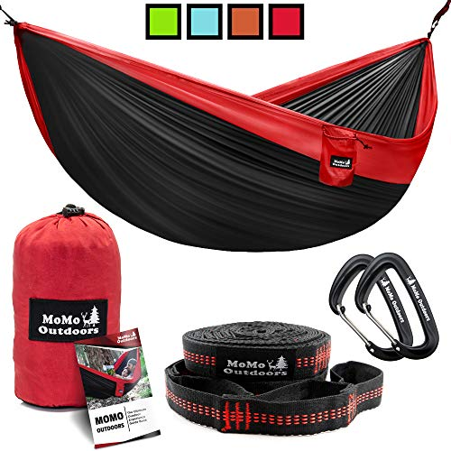 Lightweight Double Camping Hammock - Adjustable Tree Straps & Ultralight Carabiners Included - Two Person Best Portable Parachute Nylon Hammocks for Hiking, Backpacking, Travel & Backyard - Easy Setup