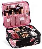 Kit de Maquillaje Neceser Make Up Bolso de Cosméticos Portable Organizador Maletín para Maquillaje Maleta de Makeup Profesional con Divisiones Extraíbles(Estilo de Flores)