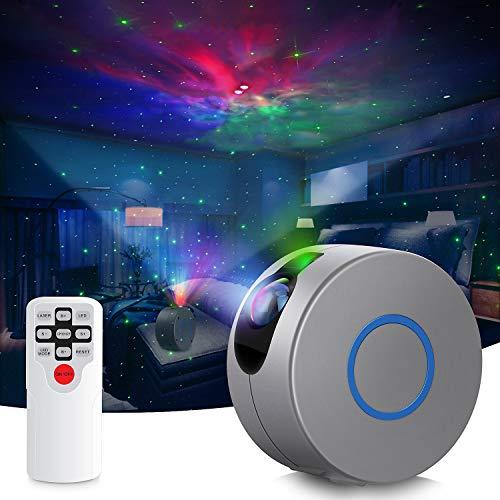 Proiettore di luce notturna, 2 en 1 luce notturna con cielo stellato con telecomando / 15 modalit di illuminazione, lampada di proiezione a LED mobile, luce d'atmosfera per la decorazione della