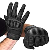 FREETOO Knuckle Tactical Gloves for Men Black Military Gloves for Shooting Airsoft Paintball Motorcycle Climbing and Heavy Duty Work (X-Large)