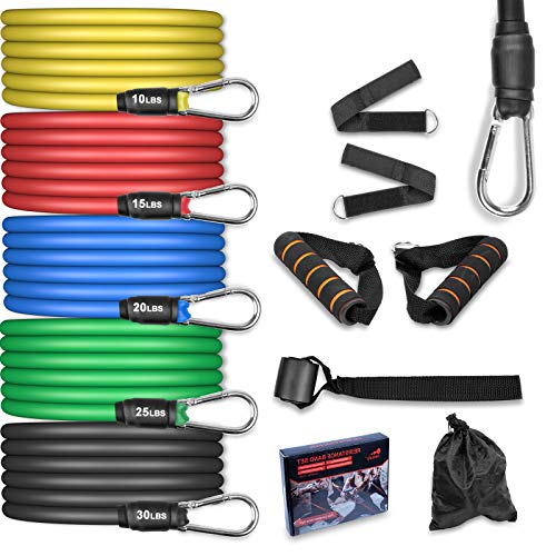 AGM Set de Bandas de Resistencia Fitness, 5 Bandas elásticas de...