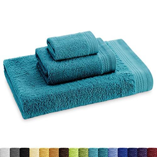 Eiffel Textile Juego de Toallas Calidad Rizo 600 gr, Algodón Egipcio 100%, Oceano, Tocador Lavabo y Sabana, 3 Unidades