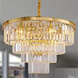 Meelighting Gold Plated Crystal Modern Contemporary Chandeliers Pendant Ceiling Light 4-Tier Chandelier Lighting for Dining Room Living Room Bedroom Girls Room Dia 23.6'