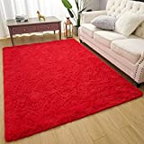 Amearea Premium Soft Fluffy Rug Modern Shag Carpet, High Pile, Solid Color Plush Rugs for Bedroom Dorm Room Teen Apartment Decor, Comfortable Indoor Furry Carpets, Red 4x5.3 Feet
