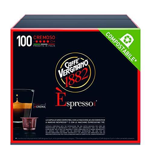 Caffè Vergnano 1882 Èspresso Cremoso, 100 Capsule, Compatibili Nespresso