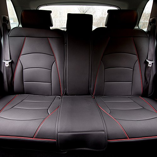 FH Group Ultra Comfort Leatherette Front Seat Cushions (Airbag Compatible), Black Red Trim-Bench (PU205013BLACKREDTRIM)