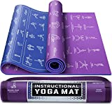 """Instructional Yoga Mat with Carrying Strap: Cute Yoga Mat with 75 Illustrated Yoga Poses + 75 Easily-Followed Stretching Exercises - 1/4"""" Thick, Non-Toxic, Non-Slip Yoga Mats for Women and Men"""