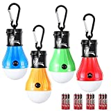 DealBang Battery Operated Hanging Tent Light Bulbs Compact LED Camping Night Light (Pack of 4,Blue+Yellow+Red+Green)