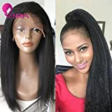 Natural Looking Italian Yaki Lace Front Wigs/Silk Top Lace Front Wigs Best Brazilian Remy Human Hair Wigs with Baby Hair for African Americans 130 Density (14' Silk Top Lace Front Wig)