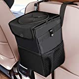 Auesny Upgraded Car Trash Can with Lid and 3 Storage Pockets, 100% Leak-Proof Car Organizer,...