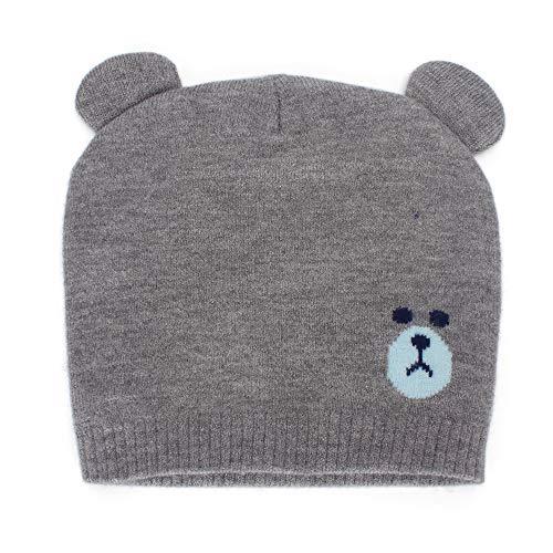 MK Matt Keely - Bellissimo berretto invernale, motivo orsetto, da bambino, unisex, con orecchie, adatto per lautunno e linverno, per bambini e bambine da 0 a 12 mesi Grigio Taglia unica