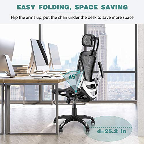 Product Image 9: Gabrylly Ergonomic Mesh Office Chair, High Back Desk Chair - Adjustable Headrest with Flip-Up Arms, Tilt Function, Lumbar Support and PU Wheels, Swivel Computer Task Chair
