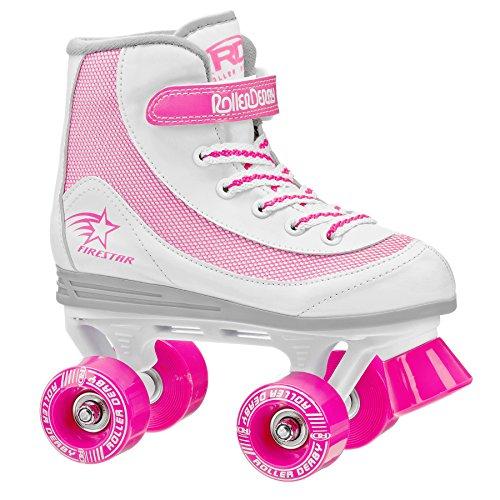 Roller Derby Firestar Youth Girl's Quad Roller Skates, White/Pink, Size 13