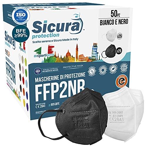 50 Mascherine FFP2 Certificate CE Nere e bianche Made in Italy logo SICURA impresso BFE ≥99% Mascherina ffp2 italiana...