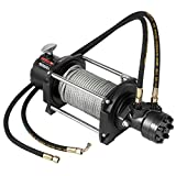 VEVOR Industrial Hydraulic Winch 10,000lbs, Hydraulic Anchor Winch with 24m Strong Steel Cable, Hydraulic Drive Winch Adapter Kit, Utility Winch with Mechanical Lock for Tacoma Yukon Hummer, etc.