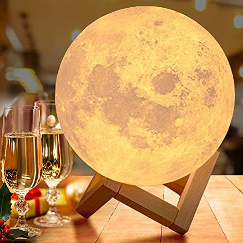 20cm Mondlampe mit Fernbedienung,OxyLED Farbige Dekoleuchte 3D Mond Kunst LED RGB Mondlampe...