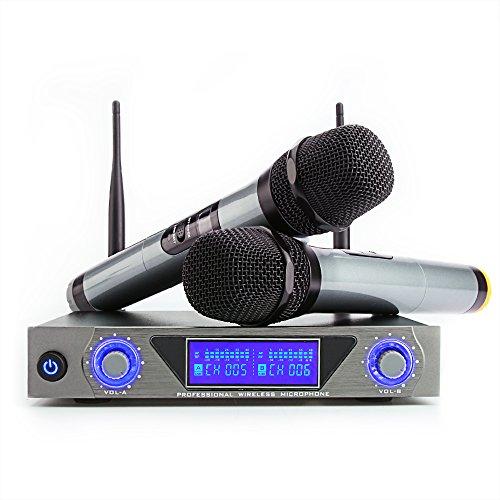 Microfono Senza Fili Doppio Microfono Wireless UHF Sistema Palmare Dinamico Wireless Professionale Mic con Display LED Home KTV Set per Karaoke, Party, DJ, Chiesa, Matrimonio, Riunione, Uso di classe