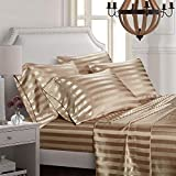 AiMay 6 Piece Satin Italian Style Bed Sheet Set Deep Pocket Striped 1800 Luxury Rich Silk 1 Flat Sheet 1 Fitted Sheet 4 Envelope Pillowcases Stain-Resistant Wrinkle Free (King,Taupe)