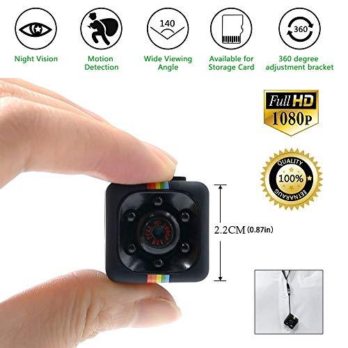 Spy Cam 1080 HD   Mini Telecamera Spia Nascosta   Micro Mini Telecamera Videosorveglianza con Rilevatore di Movimento e Infrarossi per Visione Notturna   Registrazione su Micro SD