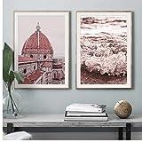 LLXHG Plage Rose château Moulin à Vent Maison Mur Art Toile Peinture Nordique Affiches et Impressions Photos pour Salon décor-50x70cmx2 Pas de Cadre