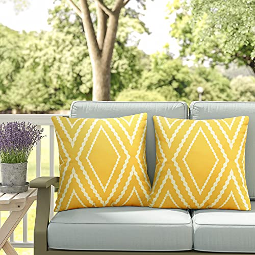 Adabana Outdoor Waterproof Boho Yellow Throw Pillow Covers Geometric Pillow Cases for Patio Garden Set of 2, 18 X 18 Inches