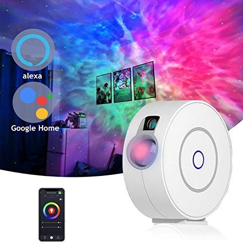 Smart Sternenhimmel Projektor mit LED Nebel,kompatibel mit Alexa & Google Home,Unterstützung Sprachgesteuert Timer,Galaxy nachtlicht Star Projektor RGB Lampe Dekoration/Playroom/Heimkino/Babyzimmer