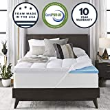 Sleep Innovations 4-inch Dual Layer Gel Memory Foam Enhanced Support, Twin, Made in The USA with a 10-Year Warranty Mattress Topper