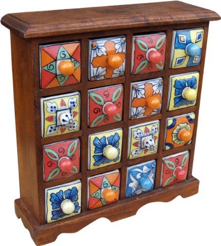 Guru-Shop Apothekerschränkchen mit Bunten Keramik Schubfächern - 4x4 Fächer, Braun, 32x32x10 cm, Dosen, Boxen & Schatullen