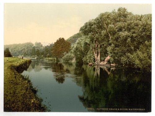 Fingerprints Berkshire, Maidenhead Railway Bridge Over The River Thames - English Photochrome - EPC576 Superior Canvas A4 Size
