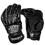 MMA Gloves Half Finger Boxing Fight Gloves MMA Mitts with Adjustable Wrist Band for Men Women Knuckle Protection for Sanda Sparring Training Punching Bag Kickboxing Muay Thai Mixed Martial Arts