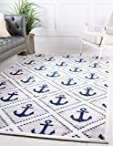 Unique Loom Metro Collection Modern Nautical Geometric Anchor Gray Area Rug (8' 0 x 10' 0)