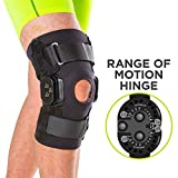 BraceAbility Torn Meniscus ROM Knee Brace | Hinged Post Surgery Support with Flexion / Extension Control for Hyperextension & Locking Treatment, Ligament (PCL / ACL) Tears, Osteoarthritis (Large)