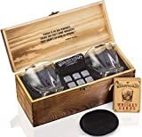 Whiskey Stones Gift Set for Men | Whiskey Glass and Stones Set with...