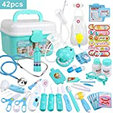 Anpro 46Pcs Medical Toy Kids Doctor Pretend Play Kit, Pretend Play Set with Stethoscope for Kids Doctor Role Play Costume Dress-Up, Birthday Gifts