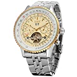 Forsining Men's Self winding Automatic Tourbillon Calendar Watch with Link Bracelet JAG034M4T1