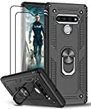 LeYi LG Stylo 6 Phone Case, LG Stylo 6 Case with Tempered Glass Screen Protector [2 Pack], [Military Grade] Armor Protective Phone Case with Magnetic Car Mount Ring Kickstand for LG Stylo 6, Black