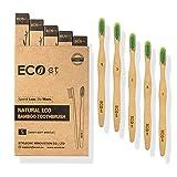 ECOet Brosse à Dents en Bambou avec Poils Doux pour Adultes   Biodégradable   Poils Taillés Ondulés   Sans BPA   Anti bactérienne   Emballage Recyclable   Écologique   Paquet de 5