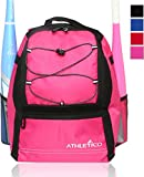 Athletico Youth Baseball Bag - Bat Backpack for Baseball, T-Ball & Softball Equipment & Gear | Holds Bat, Helmet, Glove | Fence Hook (Pink)
