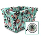 Cruiser Candy Bicycle Basket Liner, Basket Cover & Tote in One, Stylish Bike Basket Liner, Yoga Bag,Gym Bag,Beach Bag. Matching Bicycle Bell INCLUDED, Bike Bell, Beach Cruiser Accessories (Pineapples)