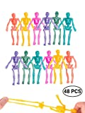 UpBrands Party Favors for Kids Stretchy Skeleton Bulk Set, 8 Glitter Colors, Kit for Birthday's, Halloween, Goodie Bags, Easter Egg Basket, Pinata Filler, Small Toys Classroom Prizes, Student Rewards