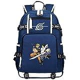 GOYING Uzumaki Naruto/Uchiha Sasuke/Sharingan Anime Cosplay Bookbag College Bag Mochila Mochila Escolar con Puerto de Carga USB-A