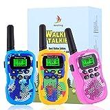 Nestling Walkie Talkie para niños, Camuflaje al Aire Libre, 8 Canales, Radio de 2 vías, Juguetes, Linterna LCD retroiluminada, Rango de 3 Millas para Actividades Infantiles (3 Piezas de Color)