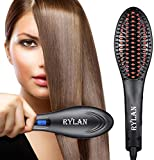 RYLAN Hair Electric Comb Brush 3 in 1 Ceramic Fast Hair Straightener For Women's Hair Straightening Brush with LCD Screen, Temperature Control Display,Hair Straightener For Women-(Black)